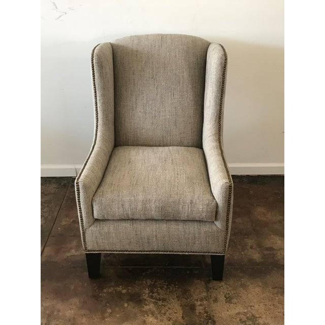 1960s Vintage Mark Alexander Linen Fabric Wingback Chair For Sale - Image 4 of 9
