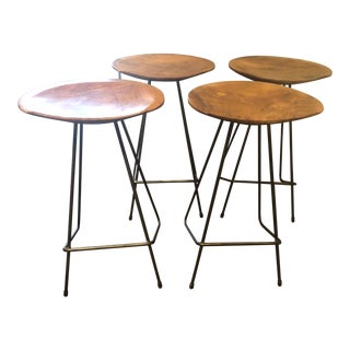 West Elm Mid-Century Bar Stools - Set of 4 For Sale