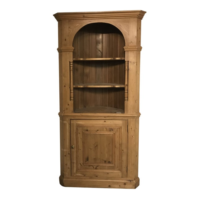 20th Century Country Pine Corner Cupboard For Sale