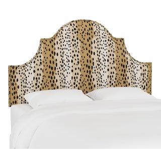 Queen Headboard, Linen Leopard Caramel For Sale