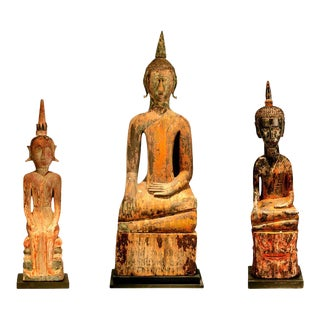 Village Buddha Statues from Laos - Set of 3 For Sale