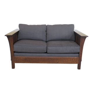 Stickley Mission Oak Arts & Crafts Loveseat Settee For Sale