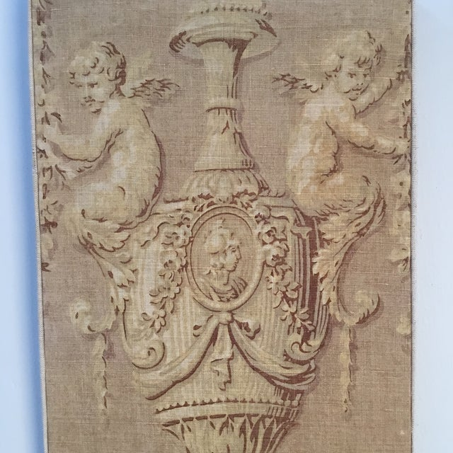 Great pair of antique textile panels with baroque - style print . Shades of beige and reddish brown . One panel perfect ,...