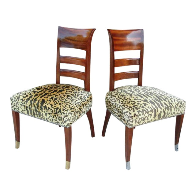 Mahogany Set of Six French Art Deco Chairs in the Manner of Jean Pascaud For Sale - Image 7 of 7