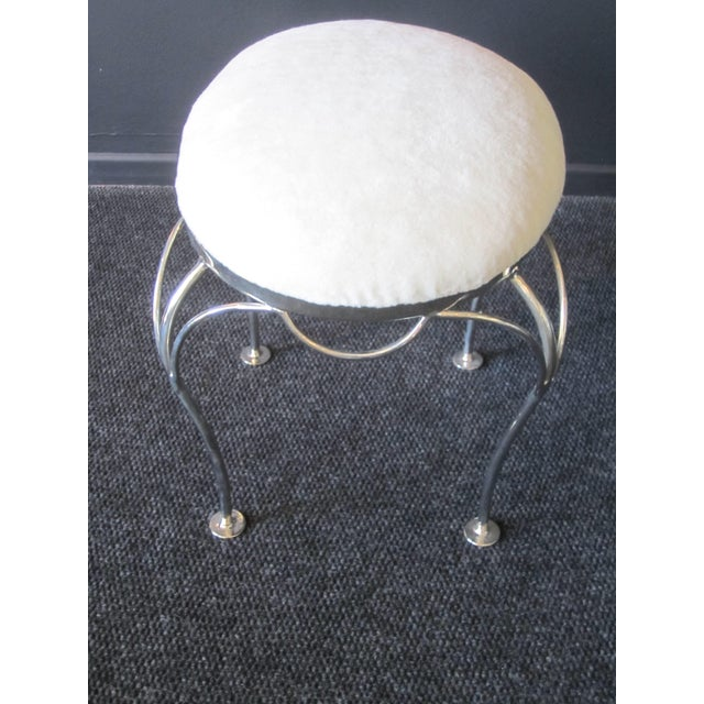 Hollywood Regency Nickel Plated and Shearling Vanity Stool For Sale - Image 4 of 8