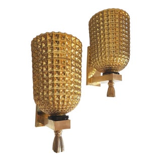 1960s Vintage Mazzega Style Large Gold Mirrored Murano Glass Sconces- a Pair For Sale
