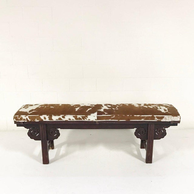 Forsyth One of a Kind Vintage Chinese Carved Bench with Custom Cowhide Cushion For Sale - Image 4 of 10