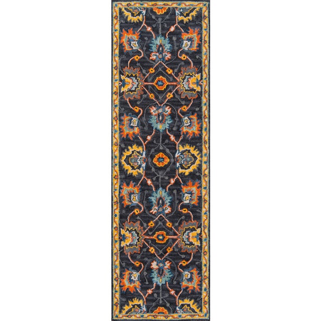 """Ibiza Charcoal Hand Tufted Area Rug 2'3"""" X 7'10"""" Runner For Sale"""