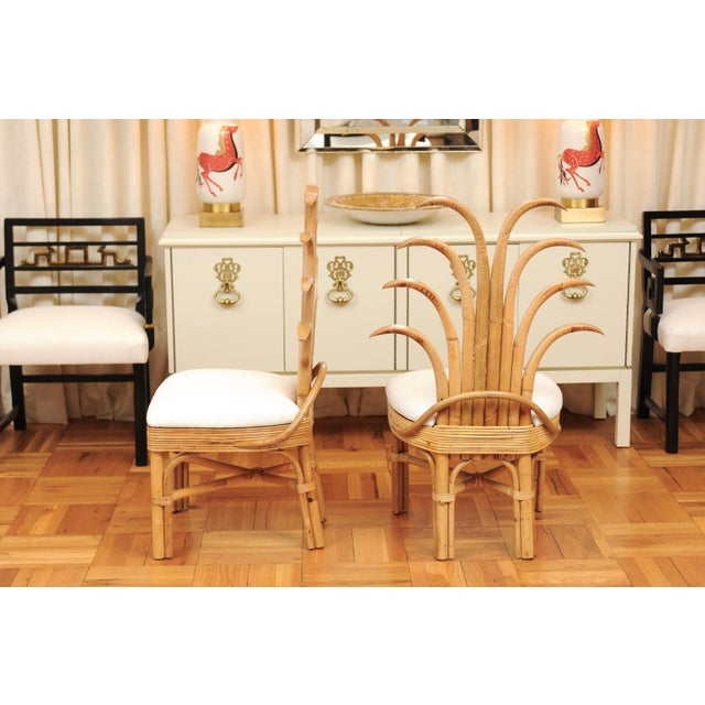 Jaw-Dropping Set of 8 Custom Made Palm Frond Dining Chairs, Circa 1950 For Sale - Image 9 of 13
