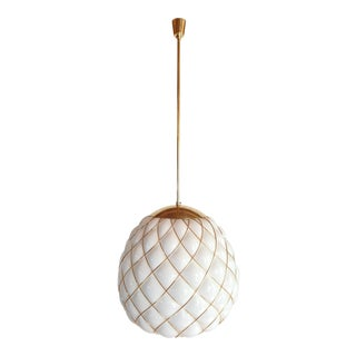 White & Gold Murano Glass Mid Century Large Globe Chandelier, Mazzega Style 1970 For Sale