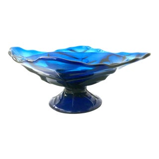 Mid-20th Century American Blown Glass Vivid Blue Footed Pedestal Dish For Sale