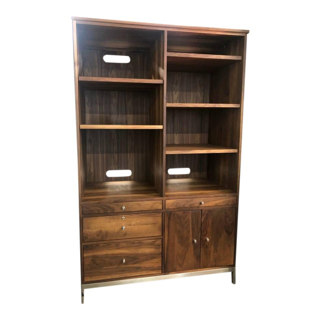 Mid-Century Modern Room and Board Solid Walnut Cabinet For Sale