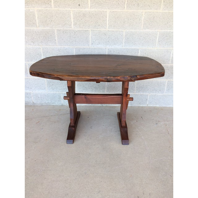 Hunt country furniture rough cut pine trestle table chairish for Rough and ready furniture