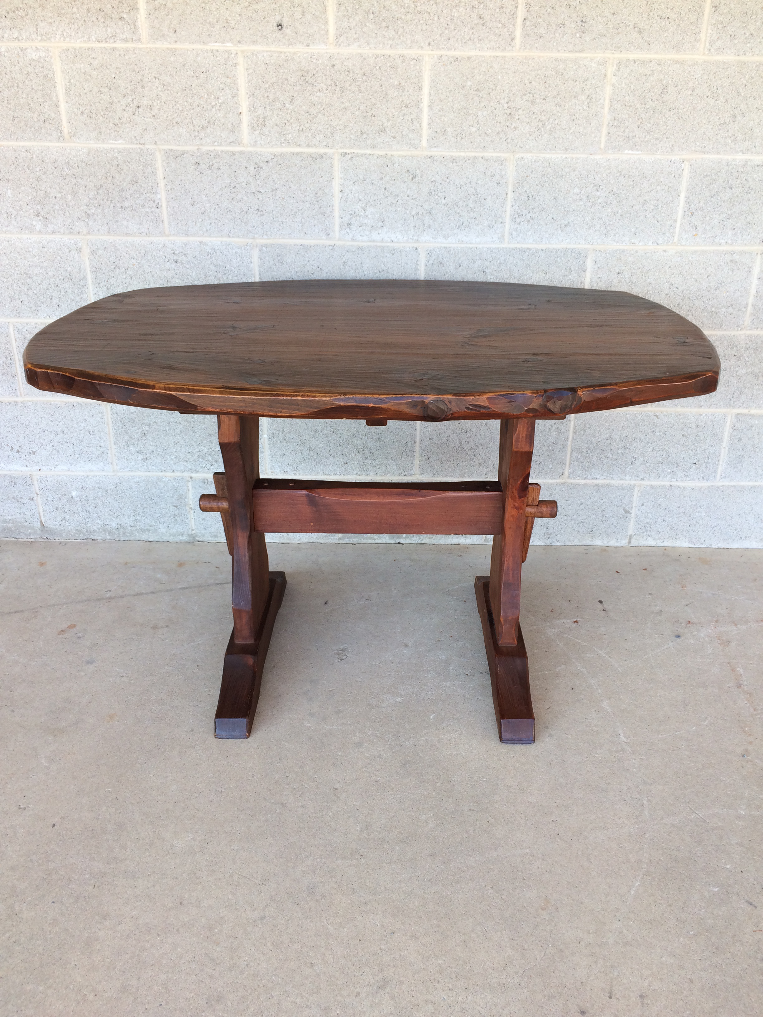 Hunt Country Furniture Rough Cut Pine Trestle Table   Image 2 Of 10
