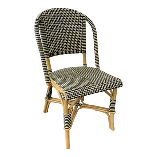 Vintage Leather Woven Bistro Chair (Navy&White) For Sale