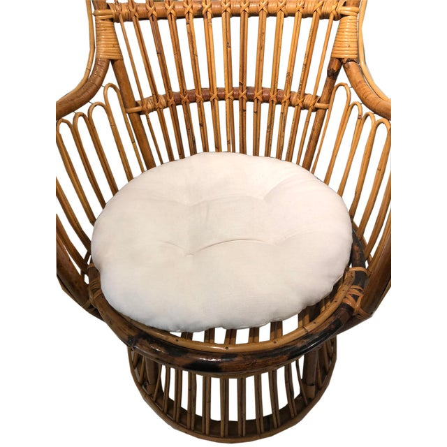 Mid-Century Modern Vintage Coastal Rattan Chair With New Upholstered Cushion For Sale - Image 3 of 7