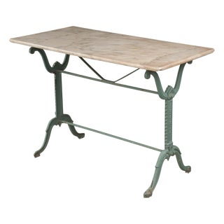 French Early 20th Century Marble-Top Garden Table For Sale