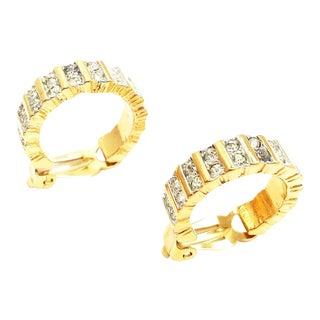 Perfect Crystal Hoop Earrings by Nina Ricci For Sale