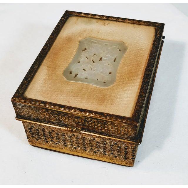 20th Century Chinese Jade Velvet Trinket Jewelry Box For Sale - Image 10 of 10