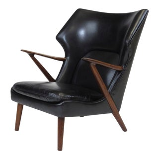 Kurt Olsen Danish Rosewood Black Leather Bear Chair For Sale