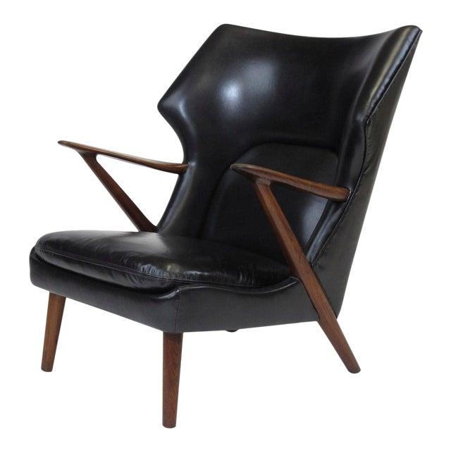 Kurt Olsen Danish Rosewood Black Leather Bear Chair For Sale