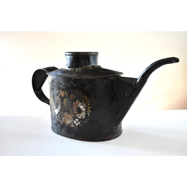 American Antique 1830s Americana Painted Gold and Silver Tole Watering Pot For Sale - Image 3 of 12