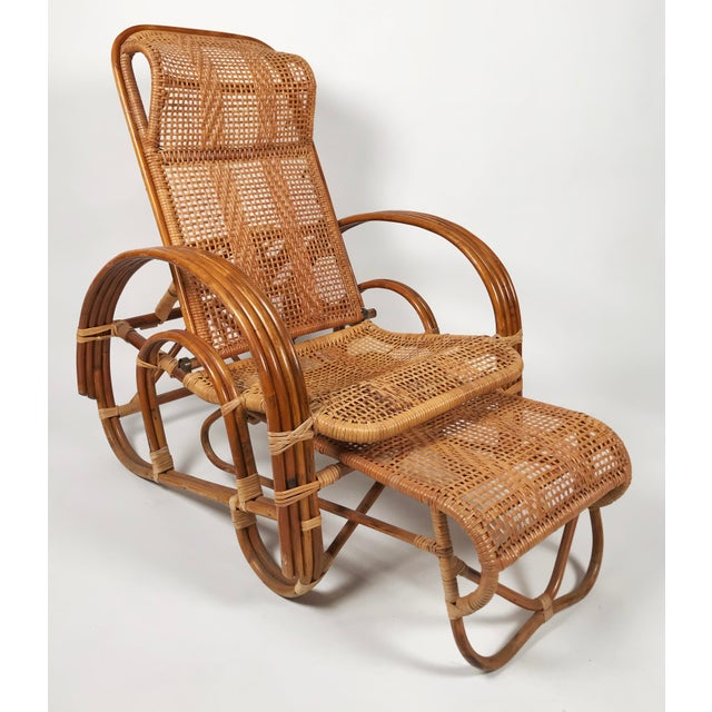 American Rattan Reclining Lounge Chair W/ Ottoman For Sale - Image 3 of 10