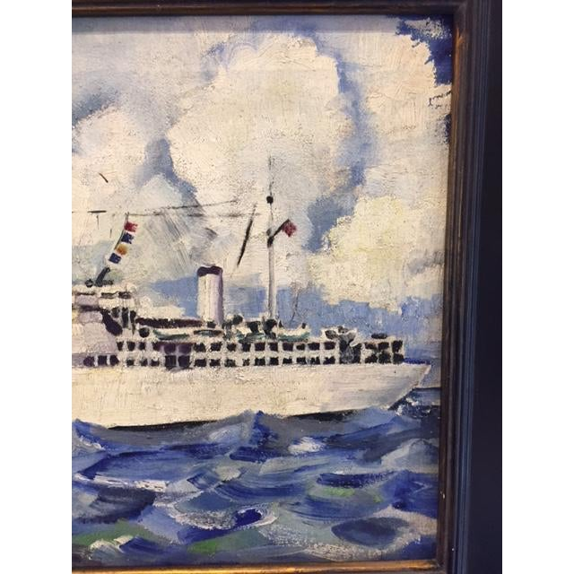 Vintage Mid-Century Cruise Ship Painting - Image 5 of 7
