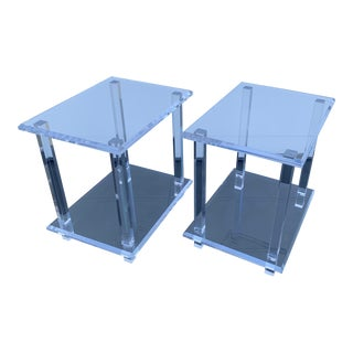 Modern Acrylic Side Tables - a Pair For Sale