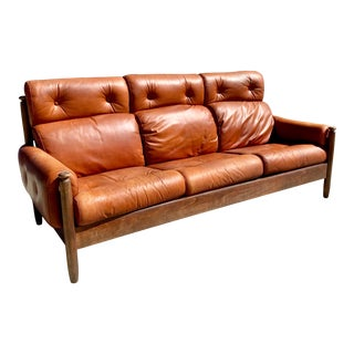 Vintage Mid-Century Percival Lafer Style Leather Sofa For Sale