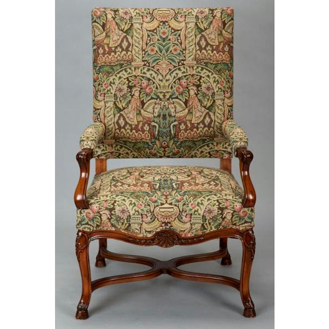 19th Century French Louis XIV Armchair Covered In Old World Style Tapestry Fabric For Sale In Detroit - Image 6 of 8