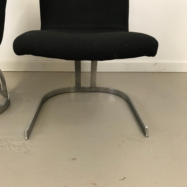 Mid-Century Modern Pair of Cantilevered Scimitar Base Chairs For Sale - Image 3 of 8