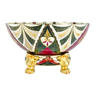 Late 19th Century Austrian Porcelain Tribal Footed Bowl For Sale