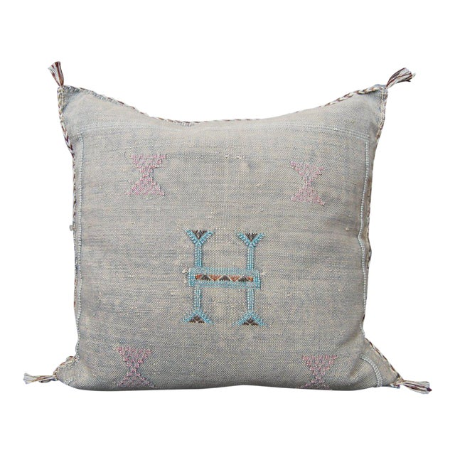 White Knight' Moroccan Sabra Silk Pillow For Sale