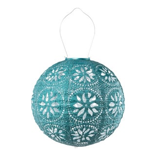 Soji Stella Outdoor Solar Boho Globe Lantern in Mineral Green For Sale