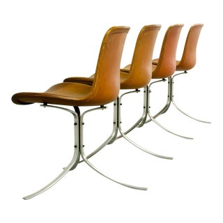 Stunning Set of Mid-Century Modern Design First Edition PK9 Dining Chairs by Poul Kjaerholm for E. Kold Christensen, 1960s For Sale