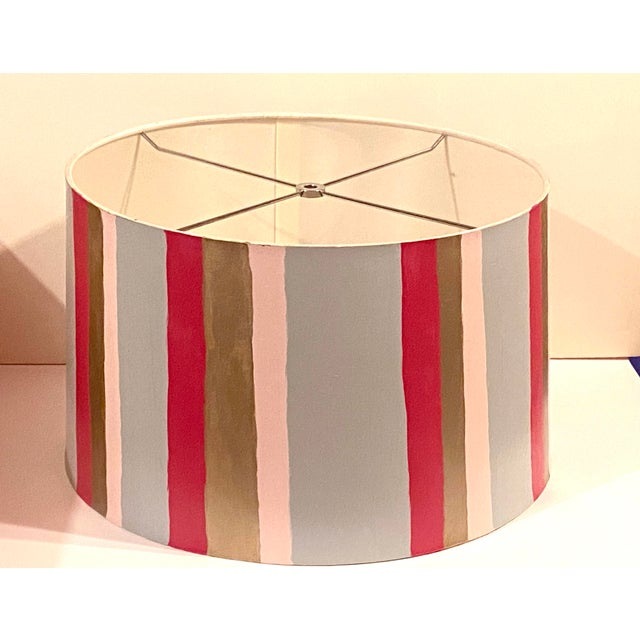 Add this one of a kind custom hand painted modern lamp shade to any decor for instant glam. In hues of Pink Gray hot pink...
