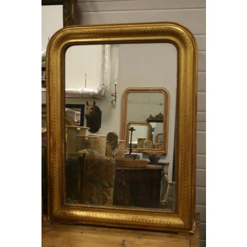 Gold Leaf Louis Philippe Mirror With Diamond Design For Sale - Image 4 of 5