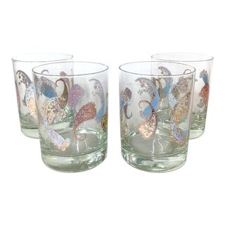 Vintage Cera Pastel Paisley Rocks Glasses - Set of 4