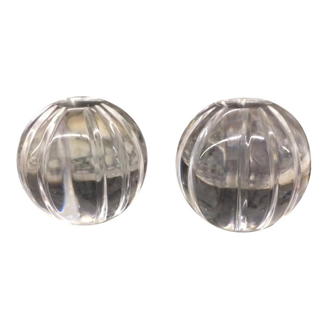 Paper Weights - Crystal Round Paper Weights - a Pair For Sale