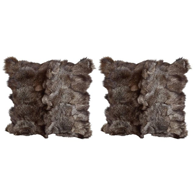 2010s Pair of Luxe Genuine Fox Fur Pillows in Hues of Grey For Sale - Image 5 of 7