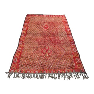Vintage Red Beni Mguild Moroccan Wool Rug - 6′ × 9′6″ For Sale