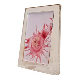Original Watercolor Abstract in Vintage Glass Frame For Sale