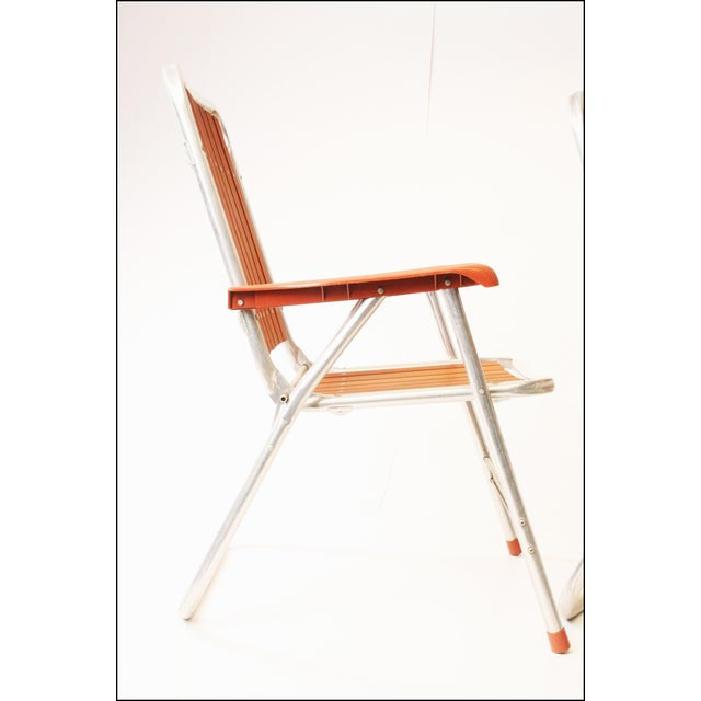 Vintage Redwood & Aluminum Folding Patio Chairs - A Pair For Sale - Image 9 of 11