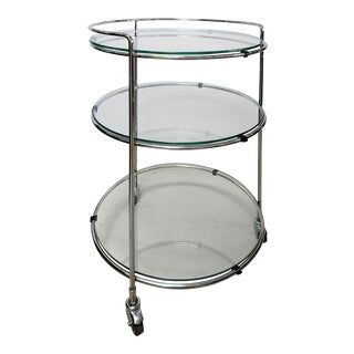 Vintage Stainless Steel Roling 3-Tier Bar Cart Side Table For Sale