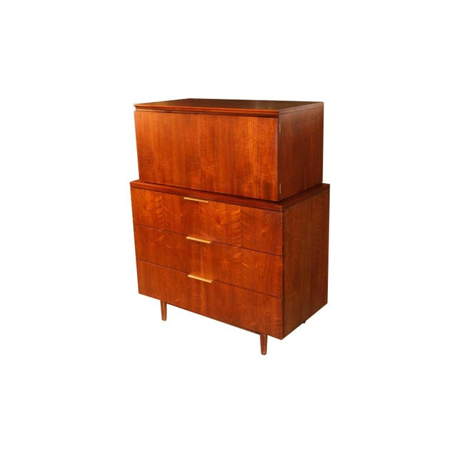 John Stuart Mid Century Highboy Walnut Dresser For Sale - Image 13 of 13
