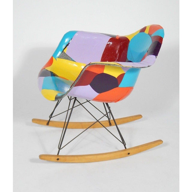 Purple Early Eames 1950s Rocker Updated by Artist Jim Oliveira For Sale - Image 8 of 8