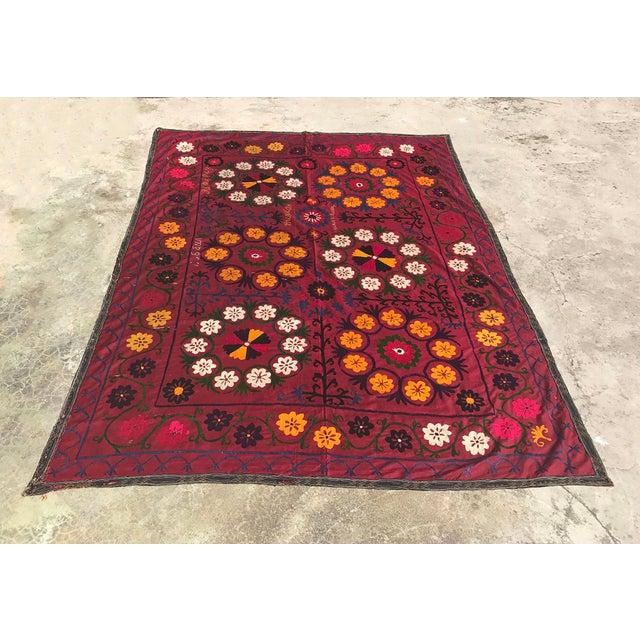 Dark Red Suzani Blanket - Image 2 of 6