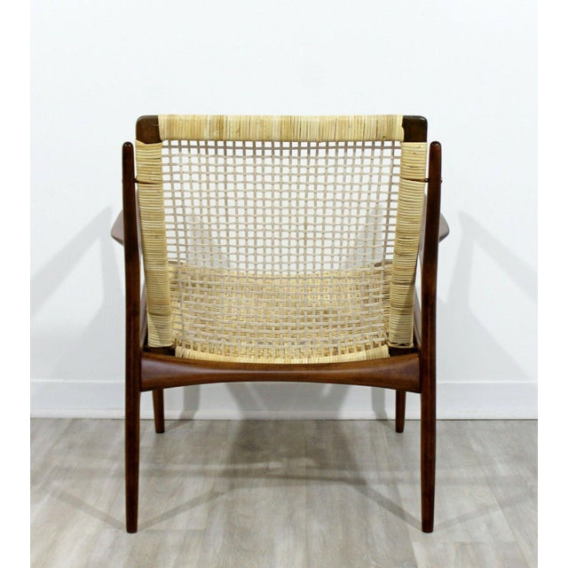 Brown Mid Century Modern Danish Kofod Larsen Cane Lounge Armchair 1960s For Sale - Image 8 of 10