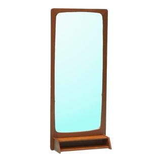 1960s Danish Teak Wall Mirror With Shelf For Sale